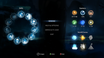 The Pause Menu showing Current known abilities and gathered power ups