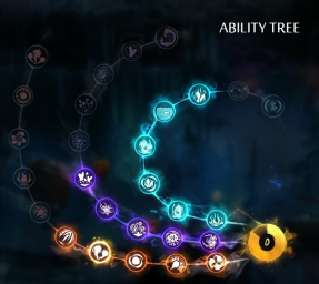 The Ability Tree showing power ups brought with ability points